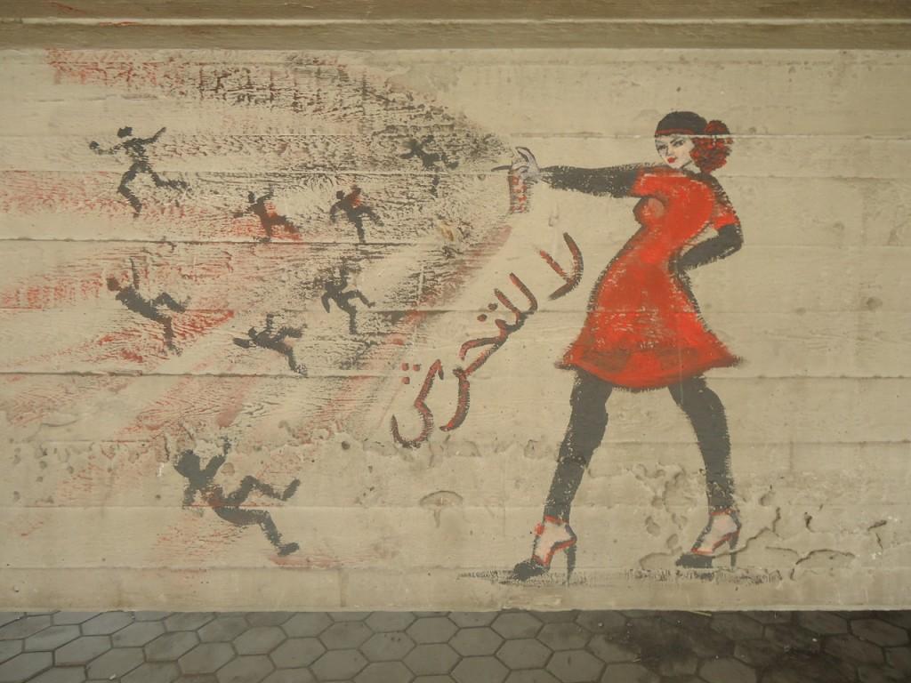 Grafiti en El Cairo de la campaña para pintar con spray a los agresores sexuales.  Foto: Reuters